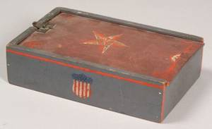 Paint Decorated Pine Box with Star Heart and Shield