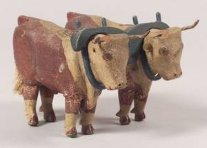 Pair of Folk Carved and Painted Wooden Yoked Oxen