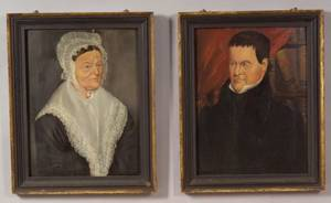American School 19th Century Pair of Portraits of a Man and a Woman