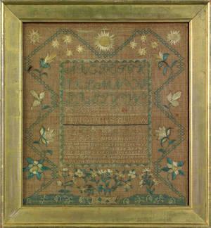 Silk on linen sampler dated 1805