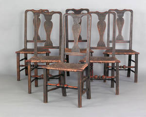 Set of six New England Queen Anne rush seat dining chairs 18th c