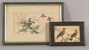 Chinese School 19th Century Lot of Two Bird Paintings
