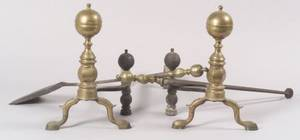 Pair of Brass and Iron Balltop Andirons with Two Matching Tools