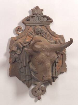 Cast Iron Bulls Head Architectural Ornament