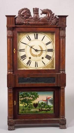 Classical Mahogany Carved and Mahogany Veneer Mantel Clock