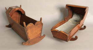 Two pine doll cradles