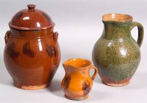Three Redware Pottery Items