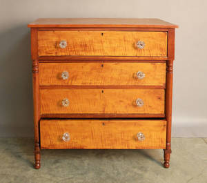 Sheraton tiger maple and cherry chest of drawers