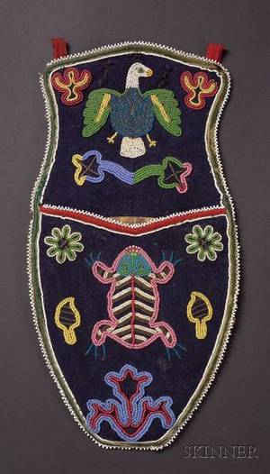 Northwest Coast Beaded Cloth Wall Pocket