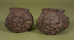 Pair of Spanish Colonial Carved Wood Stirrups