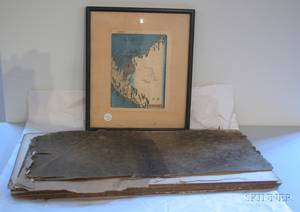 Seven Framed Japanese Prints and a Folio