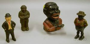 Painted Cast Iron Jolly Nigger Mechanical Bank a Black Character Still Bank and Two ManwithHat Still Banks