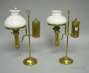 Near Pair of Brass Student Lamps with Milk Glass Shades