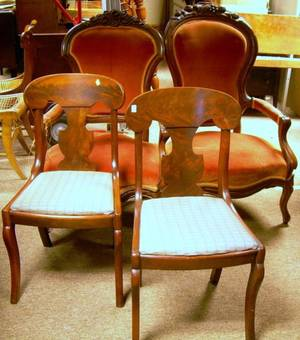 Two Victorian Upholstered Carved Walnut Parlor Armchairs and a Pair of Empire Mahogany and Mahogany Veneer Side