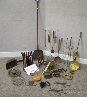 Large Lot of Wrought Iron Tin and Metal Domestic Hearth and Metal Articles