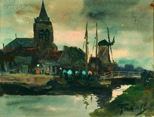 Dutch School 20th Century Landscape with Windmill