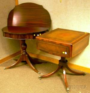 Georgianstyle Mahogany and Mahogany Veneer Games Table and Leatherinset Dropleaf Occasional Table