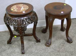 Chinese Marbleinset Carved Hardwood Stand and a Victorian Carved Mahogany Stand