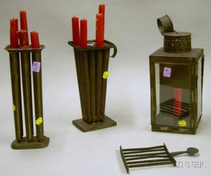 Two Tin Candle Molds Tin and Glass Lantern and a Small Wrought Iron Roaster
