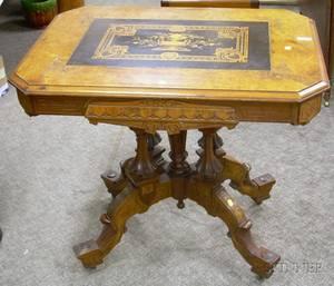 Victorian Renaissance Revival Carved Walnut Center Table
