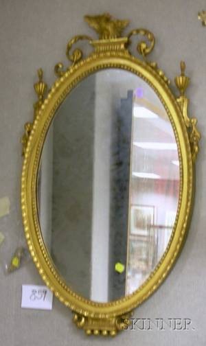 Federalstyle Oval Carved Giltwood Mirror with Eagle Finial