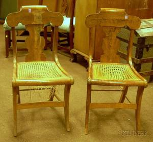 Pair of Classical Tiger Maple Side Chairs with Caned Seats