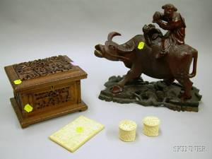 Chinese Carved Ivory Card Case and a Pair of Small Boxes an Asian Carved Hardwood Trinket Box and Figural Gro