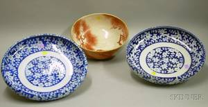 Japanese Handpainted Ceramic Bowl and a Pair of Blue and White Decorated Porcelain Low Bowls