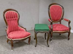 Pair of Victorian Rococo Revival Upholstered Carved Walnut Parlor Chairs and an Upholstered Stool