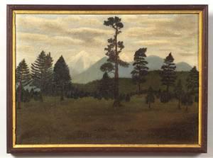 American School 19th Century Primitive Mountain Landscape
