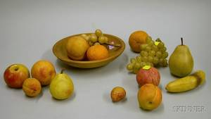 Fourteen Pieces of Carved and Painted Stone Fruit with a Small Turned Wood Bowl