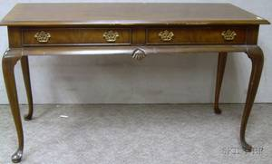 Drexel Queen Anne Style Carved Mahogany and Mahogany Veneer TwoDrawer Side Table