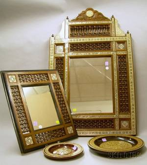 Two Moorish Motherofpearl and Bone Inlaid Wooden Mirrors and Two Plaques