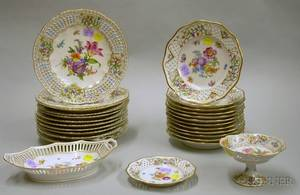 Set of Eleven Dresden Reticulated Porcelain Handpainted Floral Decorated Plates and a Set of Twelve Schumann R