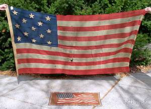 ThirteenStar American Wool Flag and a Printed Flannel American Flag Pillow Top Fragment