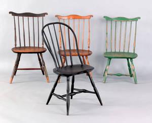 Three Philadelphia or Lancaster County Pennsylvania fanback windsor side chairs ca 1770