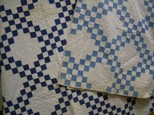 Machinestitched Pieced and Applique Cotton Quilt and a Handstitched Pieced Cotton Quilt