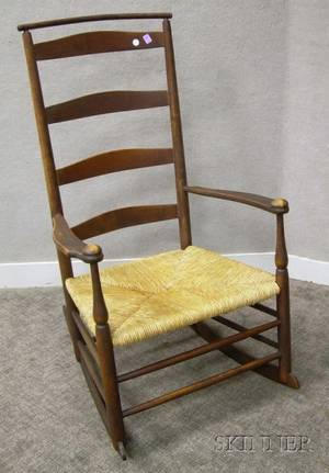 Shaker Redstained No 6 Production Maple Slatback Armrocker with Woven Rush Seat