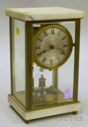 Marble Brass and Beveled Glass Torsion Pendulum Clock