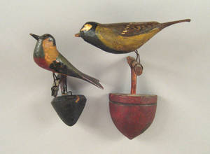 Two carved and painted bird wall mounts late 19th c