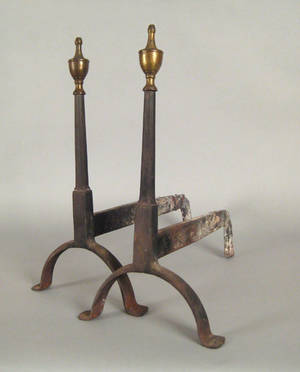 Pair of Federal brass and wrought iron andirons late 18th c