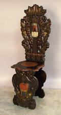 Carved and painted sgabello chair