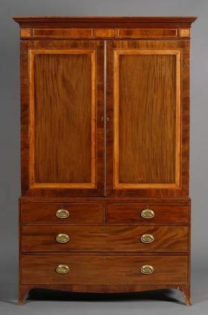 Regency Satinwood Inlaid Mahogany Linen Press