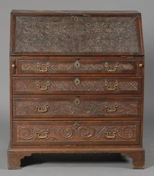 English Carved Oak Slant Lid Desk
