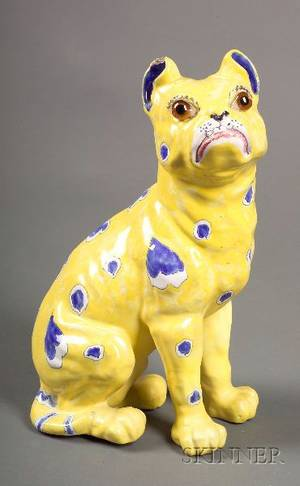 Emile Galle Style Blue and Yellow Painted Pottery Dog Figurine