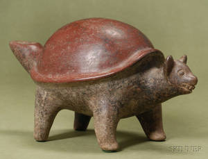 PreColumbian Painted Pottery TurtleDog Figure