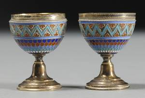 Pair of Russian Silver Enamel Egg Cups