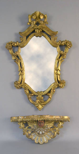Italian giltwood mirror and shelf