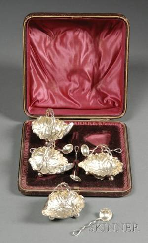 Boxed Set of Four Victorian Silver Salt Cellars and Spoons