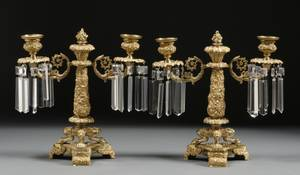 Pair of Continental Giltbronze Twolight Candelabra